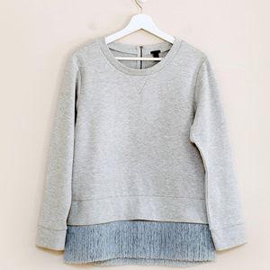 J Crew Gray Fringe Hem Sweatshirt M
